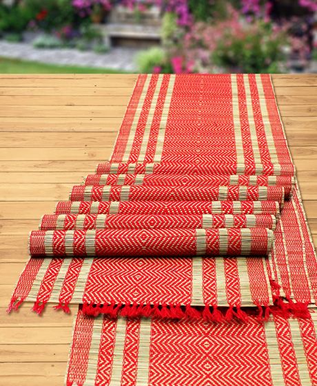 NATURAL HANDMADE RED STRIPE TABLE MAT & RUNNER MADE OF MADURKATHI / REED /  RIVER GRASS